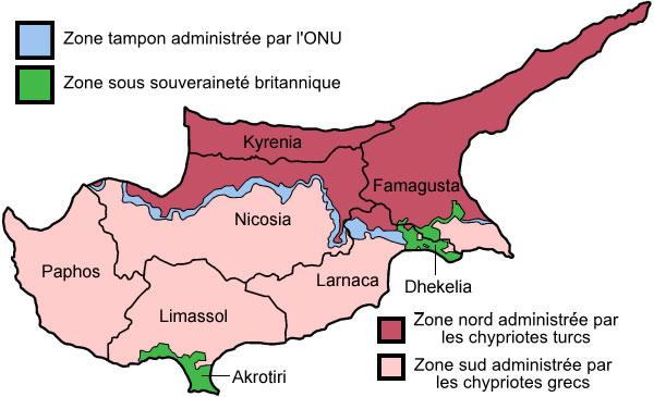 Carte Chypre et Turquie