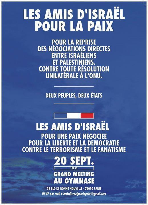 Pour la reprise des négociations directes entre Israéliens et Palestiniens, Contre toute résolution unilatérale à l'ONU