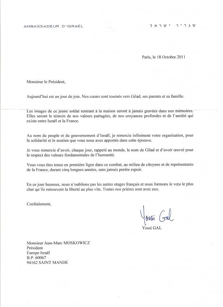 les remerciements que nous avons reçu de l'Ambassadeur d'Israël pour les actions d'Europe Israël en faveur de Guilad Shalit.