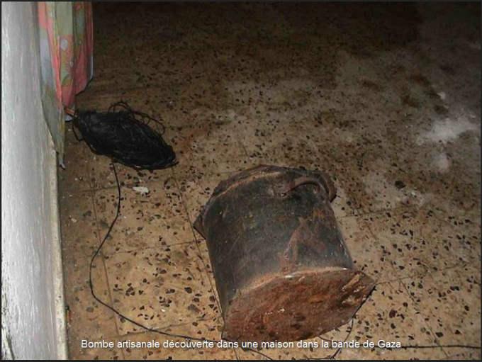 Bombe artisanale découverte dans une maison dans la bande de Gaza
