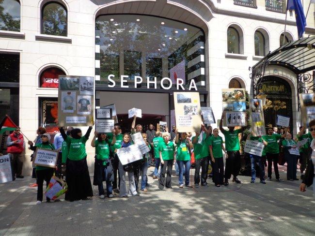 sephora protestation anti israélienne BDS 12mai 2012