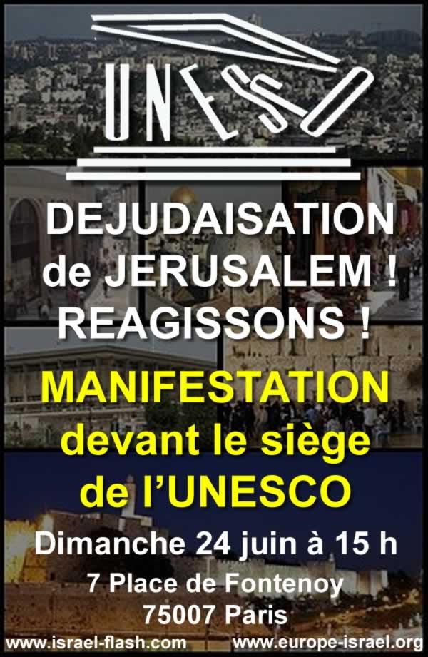 affiche manifestation devant l'UNESCO