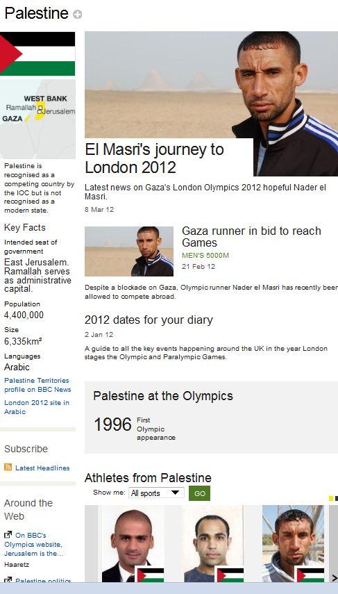 """BBC site web jeux olympiques : Jérusalem Est serait la capitale de la """"palestine"""""""