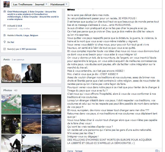 Luc Trullemans Monsieur Météo RTL-TVI sur l'islam 26 avril 2013