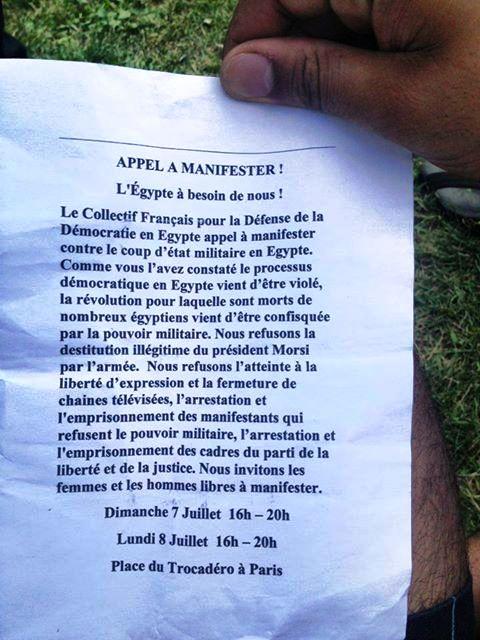 Voici le tract Pro-Morsi distribué dans la foule