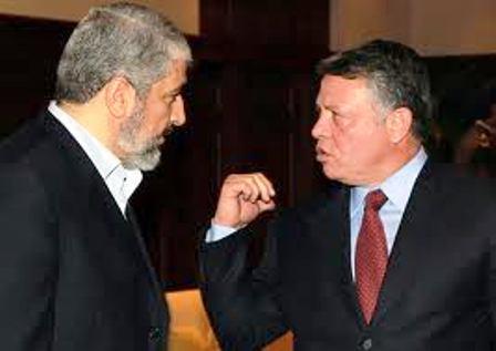 Khaled Meshal - à gauche - discutant avec le Roi Abdallah de Jordanie
