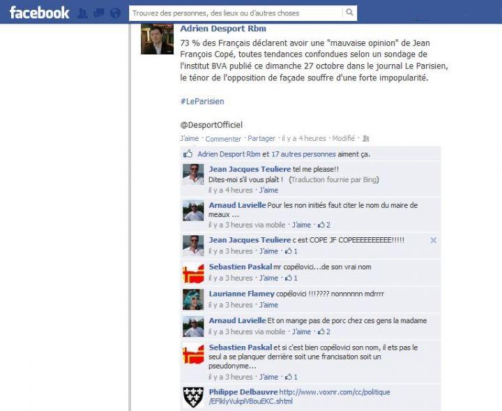 Commentaires antisémites sur Facebook à propos de Copé
