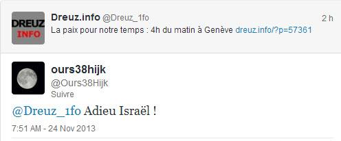 "sur Tweeter ""Adieu Israël !"""