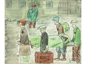 """""""DÉPORTÉE SUR UNE CIVIÈRE (1942). LES MALADES ET CEUX QUI ÉTAIENT TROP FAIBLES POUR MARCHER ÉTAIENT AMENÉS AU CONVOI SUR DES CIVIÈRES."""