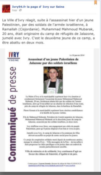 publication qur la page d'Ivry sur seine sur facebook Ivry94/ivry94