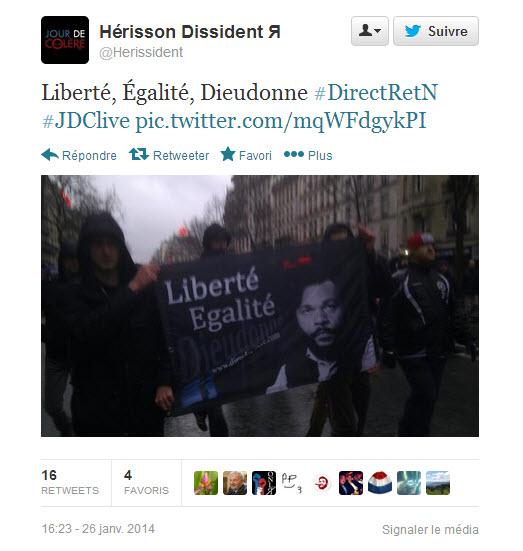 """Manifestation du 16 janvier anti-Hollande: """"liberté, égalité Dieudonné !"""""""