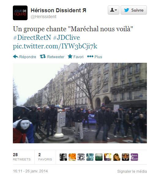 """Manifestation du 16 janvier anti-Hollande: """"Maréchal nous voilà !"""""""