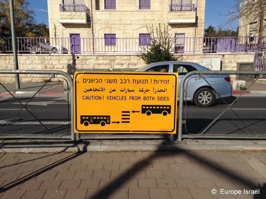 panneau trilingue  Jerusalem
