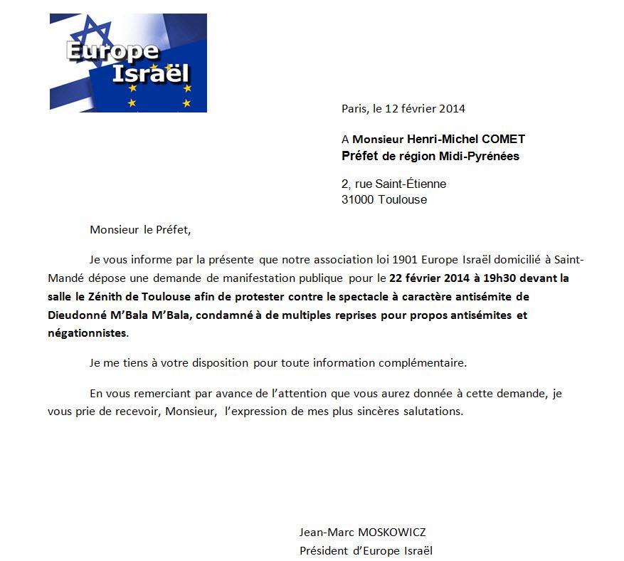 demande de manifestation à Toulouse