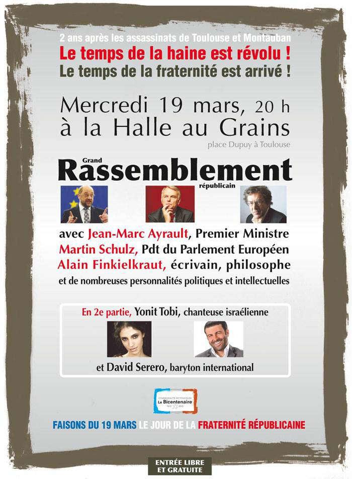 rassemblement Toulouse à la mémoire des victimes de  Mohamed Merah