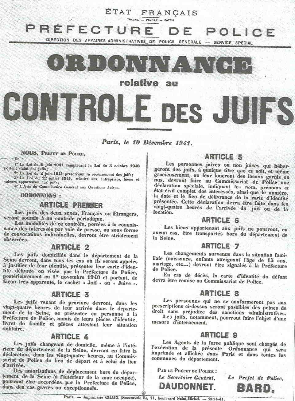 AfficheControleJuifs1941