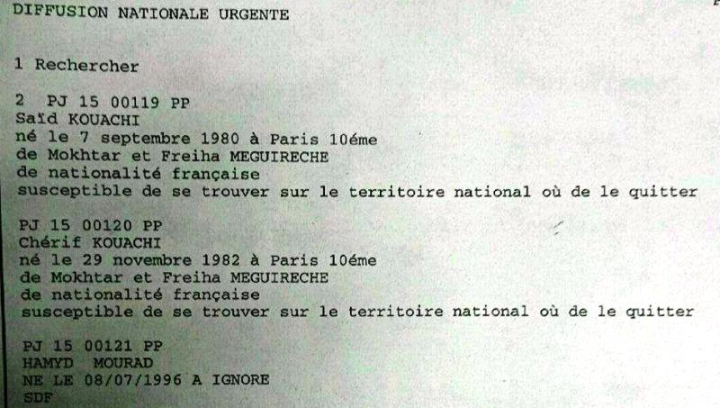 mandat d'arrêt pour les trois terroristes de l'attaque contre Charlie Hebdo